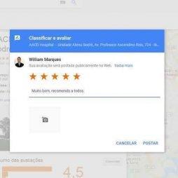 Depoimentos e Avaliação no Google