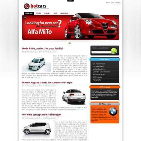 Carros Automóveis Concessionária Template Joomla 070
