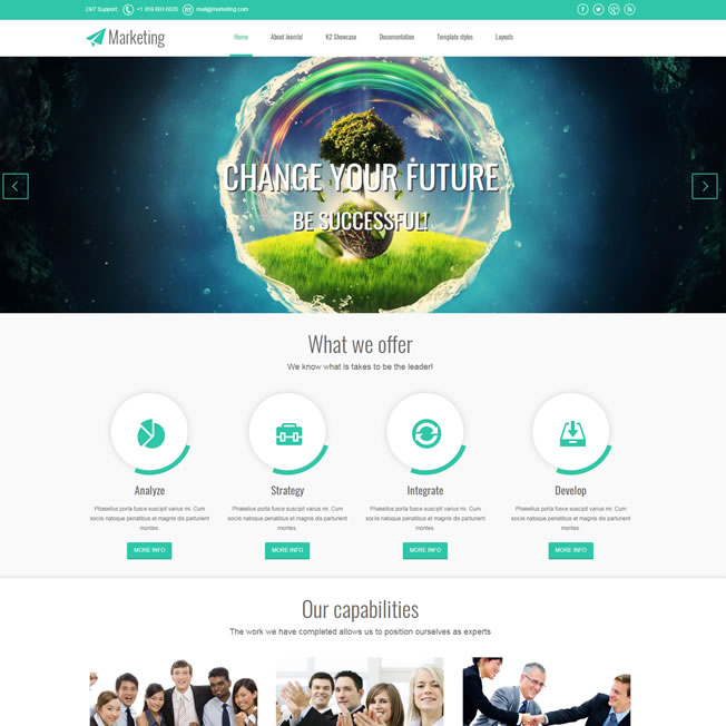 Criar Site Marketing Template Joomla 086