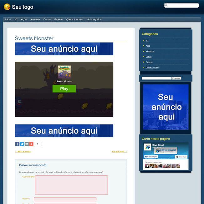 Criar Site Jogos Online Template Wordpress Português 192 v3