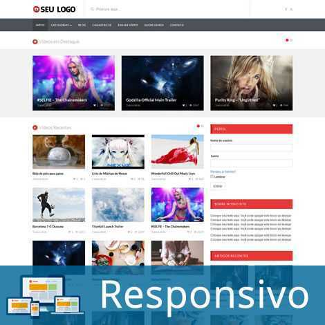 Vídeos Youtube Template WordPress Português 217