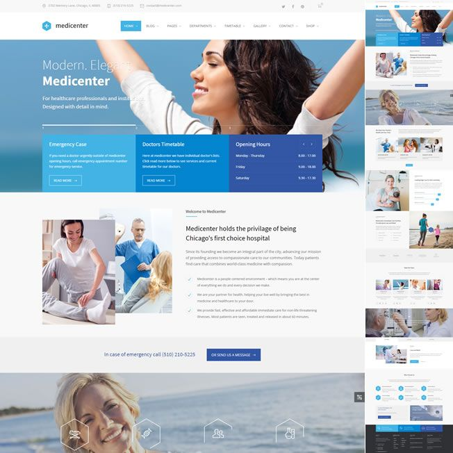 Template Clinica Médica, Dentista Hospital WordPress 570 v1
