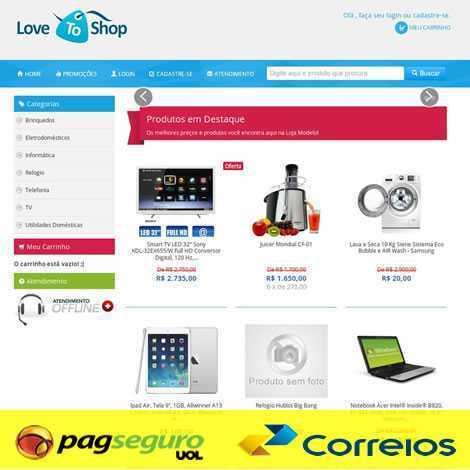 Template Loja Virtual E-commerce Responsivo Php 536 pagseguro correios
