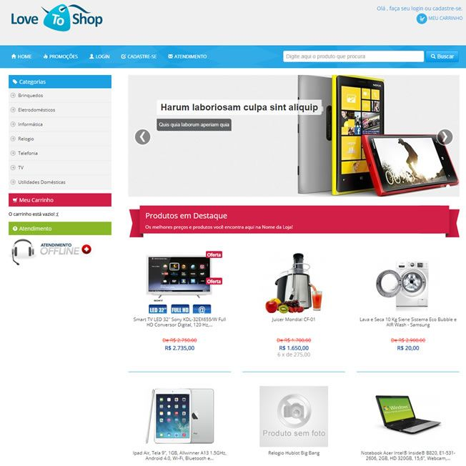 Template Loja Virtual E-commerce Responsivo Php 536 v1
