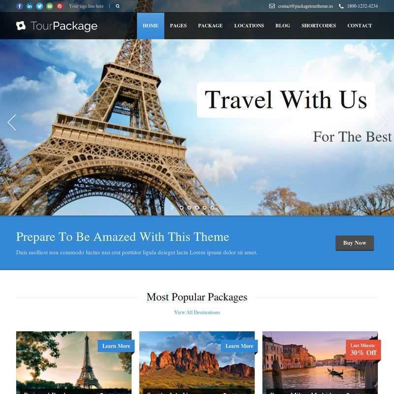 Template Agências De Viagens WordPress Responsivo 695 S