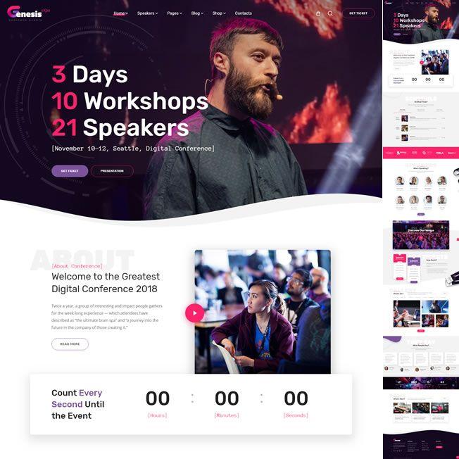 Template Eventos Feiras E Conferências WordPress Responsivo 752 v1b