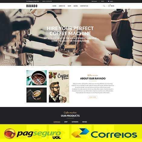 Template Loja Virtual Cafeteria Opencart Responsivo 790 pagseguro correios