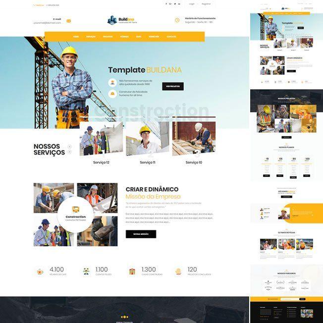 Criar Site Construtora WordPress Responsivo Português 1000 v1
